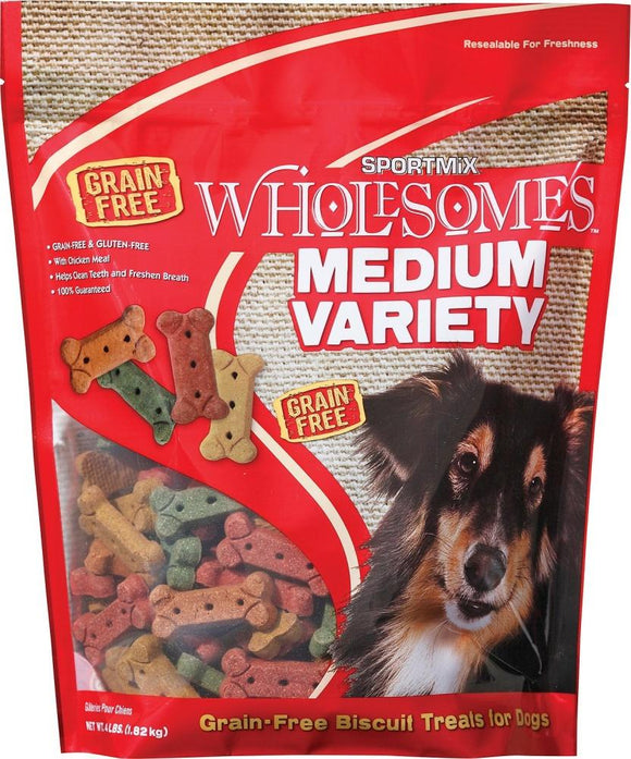 SPORTMiX Wholesomes Medium Variety Biscuits Grain Free Dog Treats
