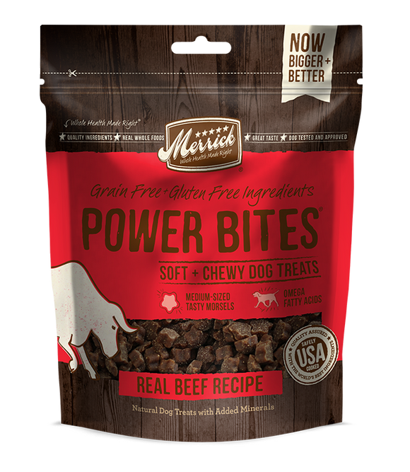 Merrick Power Bites Real Beef Recipe Dog Treats