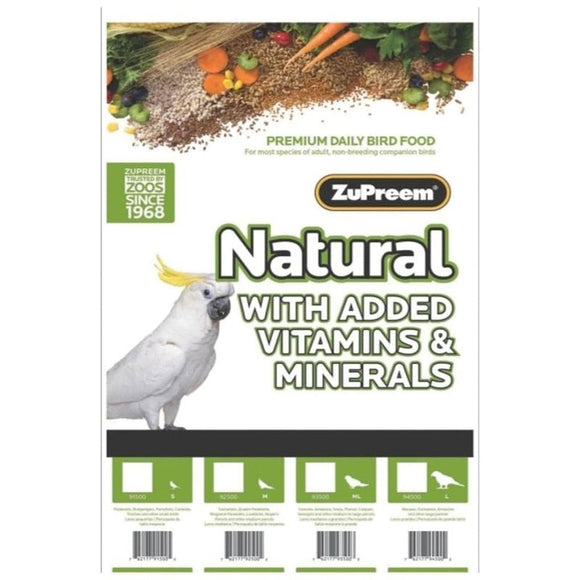 ZUPREEM NATURAL WITH ADDED VITAMINS & MINERALS LG PARROT