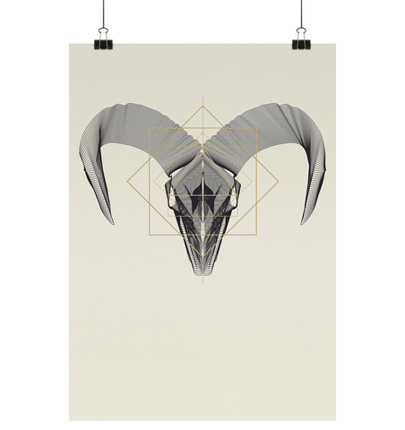 Illustration Animal Skullz - Ram - Poster