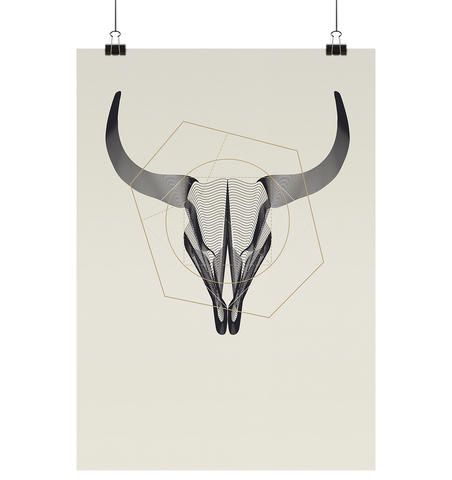 Illustration Animal Skullz - Buffalo - Poster