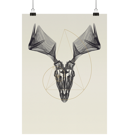 Illustration Animal Skullz - Stag - Poster