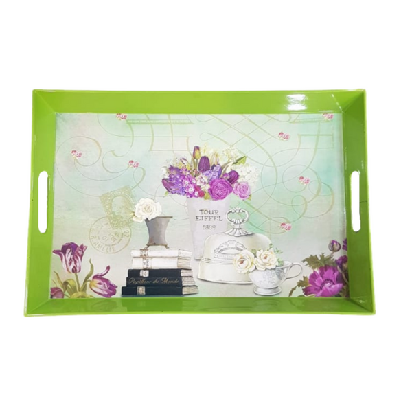Green Floral Tray