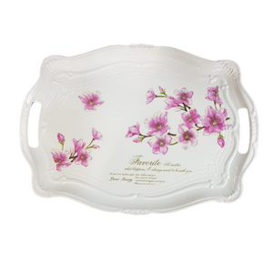 Floral Melamine Tray with Handles - Akil Bros