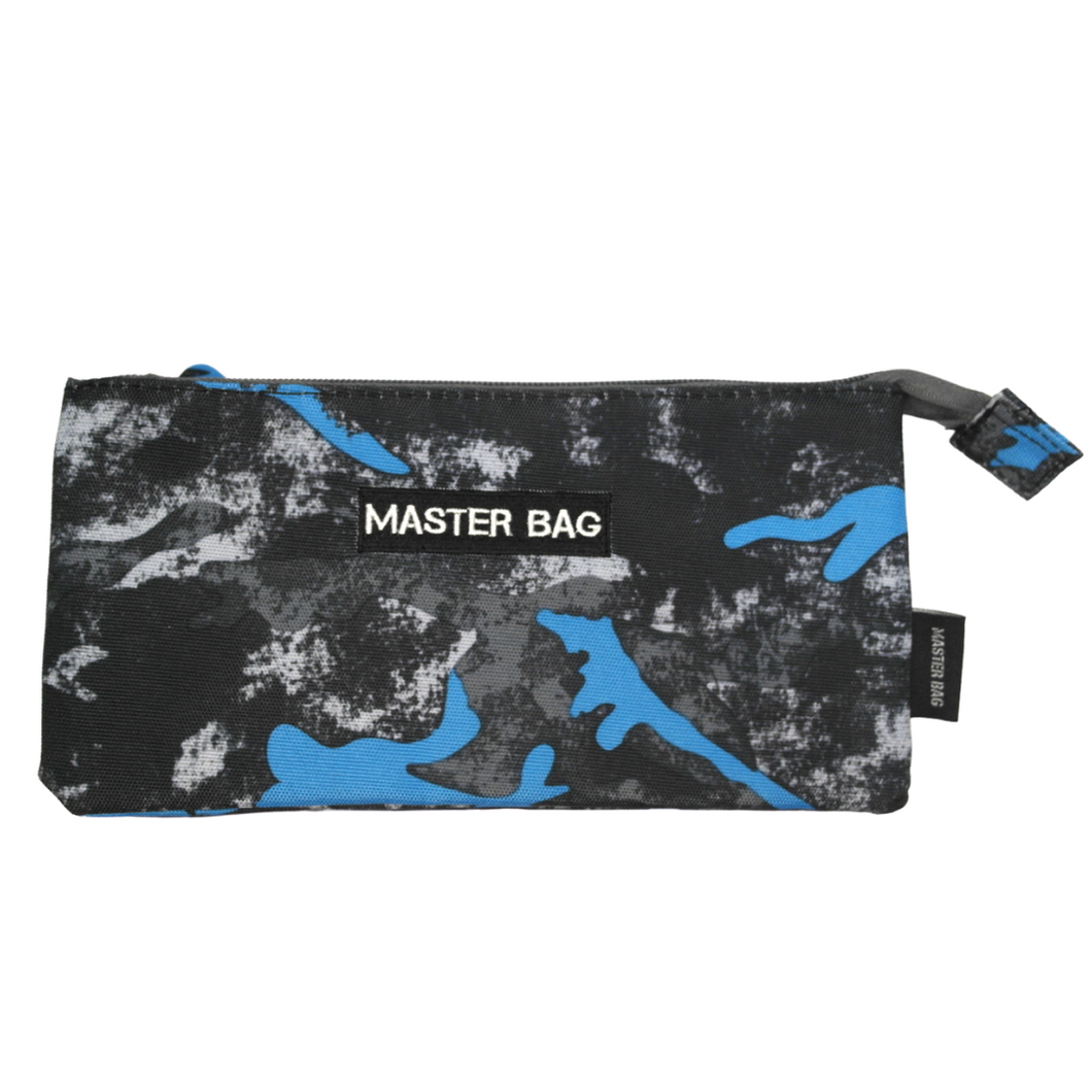 Master Bag Blue and Grey Flat Pencil Case