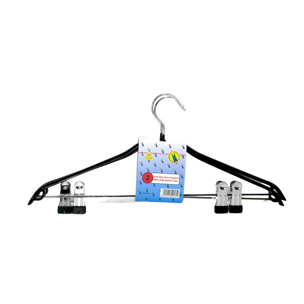 Anti-slip Suit Hanger w/ Adjustable Clips - Pack of 2