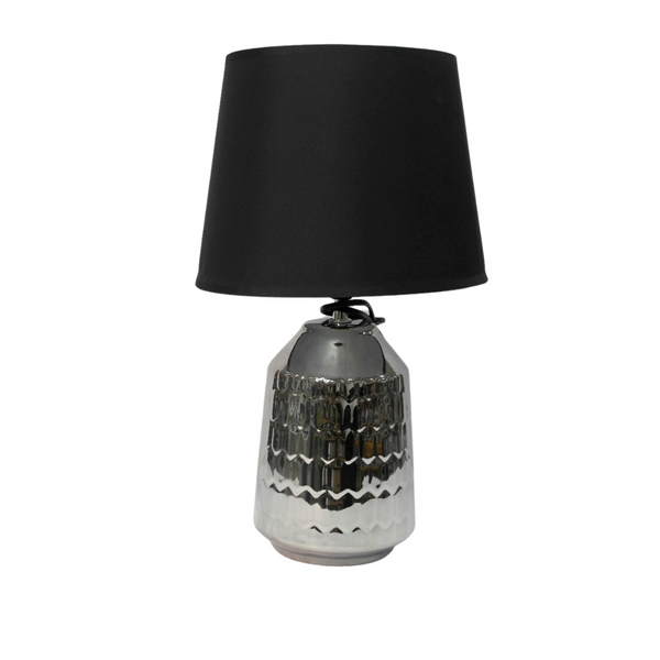 Metallic Black Textured Table Lamp