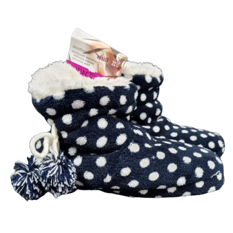 Kids Navy Polka Dot House Boots