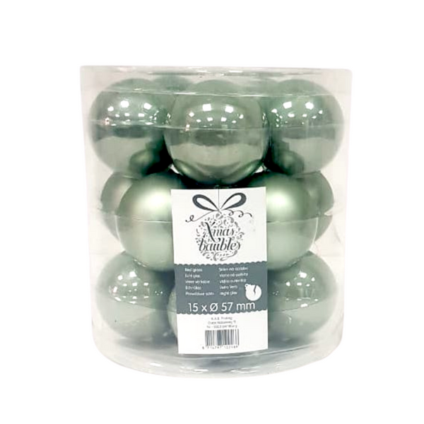 Green Christmas Baubles - Pack of 15
