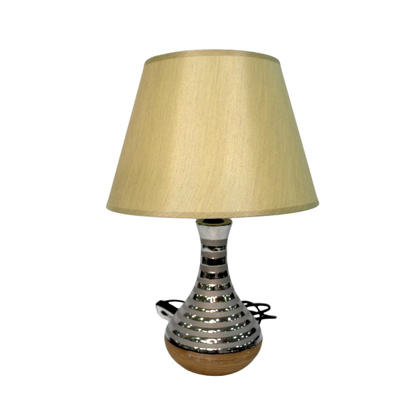 Beige and Silver Fluted Table Lamp