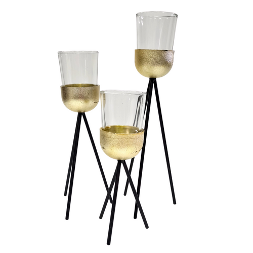 Gold & Black Candle Holders - Akil Bros