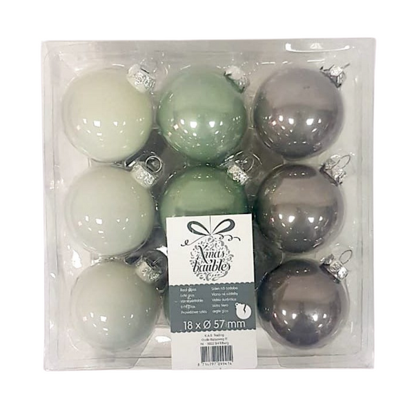 Three Color Christmas Baubles - Pack of 18