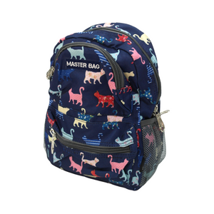 Master Bag Navy Cat Pattern Backpack - 34 cm