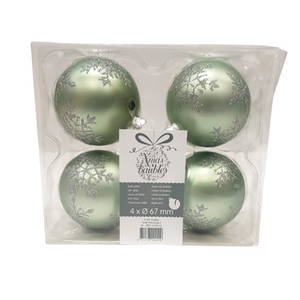 Green Snowflake Christmas Baubles - Pack of 4