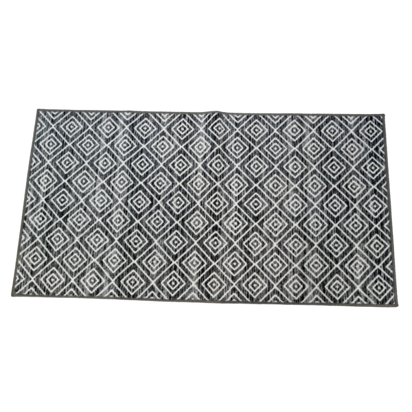 Grey and White Geometric Rug (80 x 150 cm)