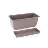 Gab Plastic Rectangular Flower Planters with Tray - 35cm