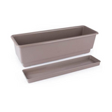 Gab Plastic Rectangular Flower Planters with Tray - 50cm