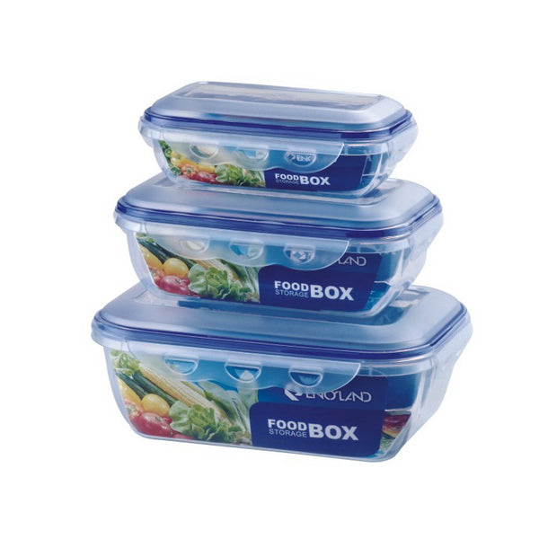 Rectangle Plastic Food Containers with Lock Lid (3 PCS)