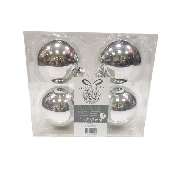 Chrome Christmas Baubles - Pack of 4