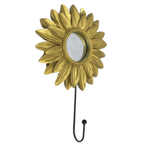 Gold Flower Wall Hanger w/ Mirror - Akil Bros