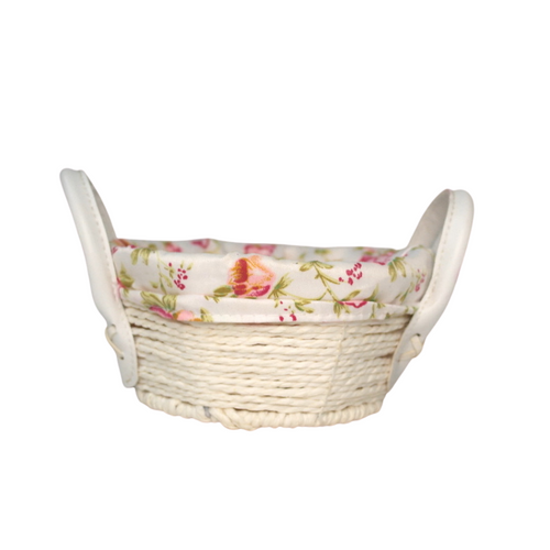 Small White Bamboo Floral Basket - Akil Bros