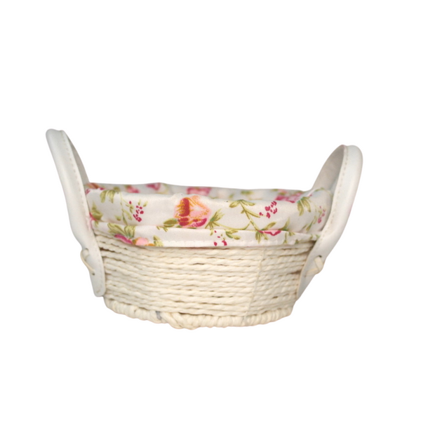Small White Bamboo Floral Basket