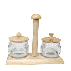 Wooden Sugar Bowl Set - Akil Bros