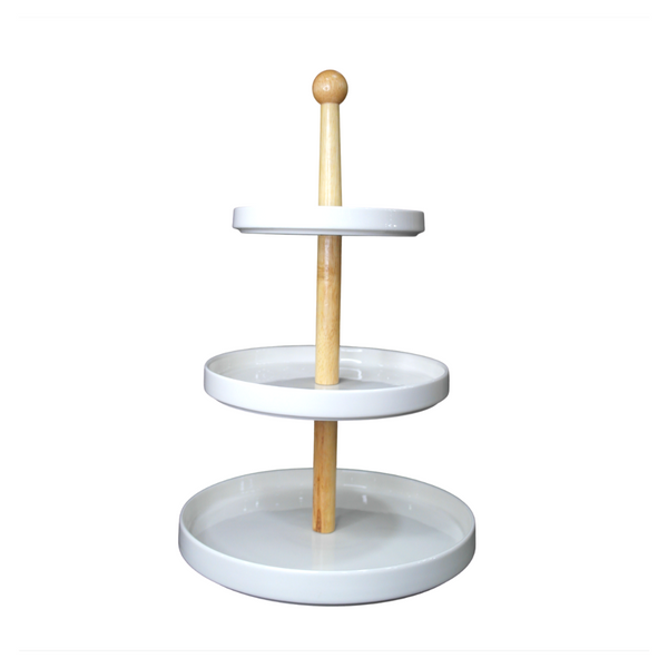 3-Tier Porcelain Serving Tower w/ Wooden Stand