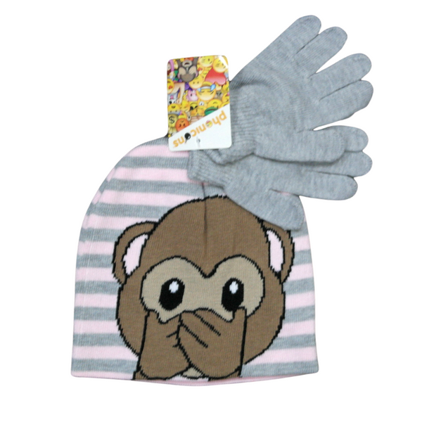 Kids Grey and Pink Hat and Gloves