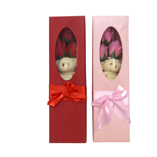 Valentines Teddy Bear and Roses Box - Akil Bros