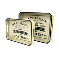 Kitchens Wooden Trays w/ Black Edges (Set of 2)