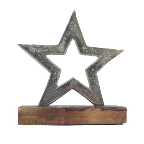 Metal Star w/ Wooden Base