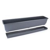 Gab Plastic Rectangular Flower Planters with Tray - 80cm