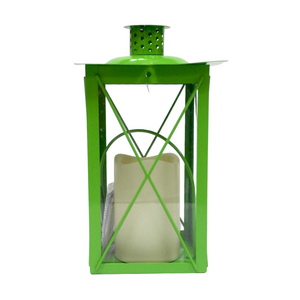 Green Metal Lantern w/ Flameless Candle