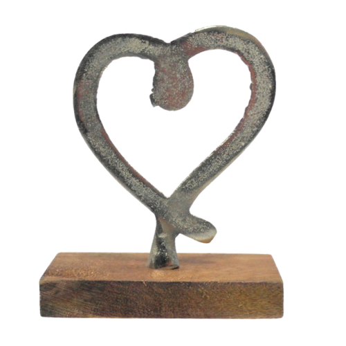 Metal Heart w/ Wooden Base