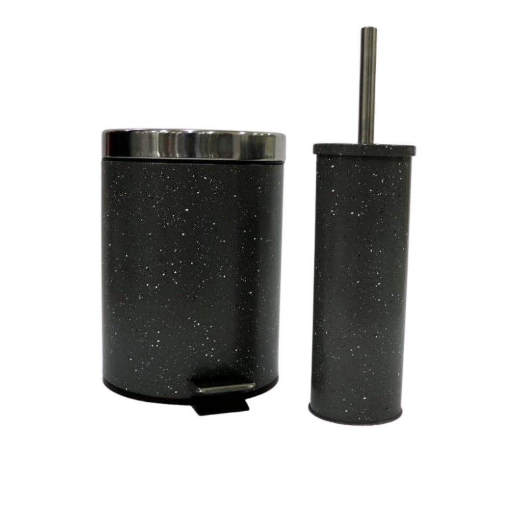 Space Black Waste Bin and Toilet Brush