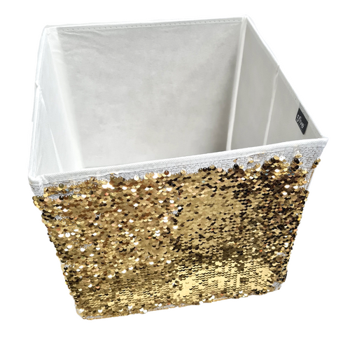 White and Gold Decorative Storage Box - 31 cm - Akil Bros