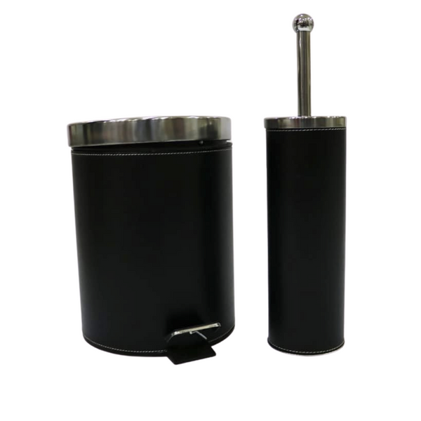 Black Leather Waste Bin and Toilet Brush