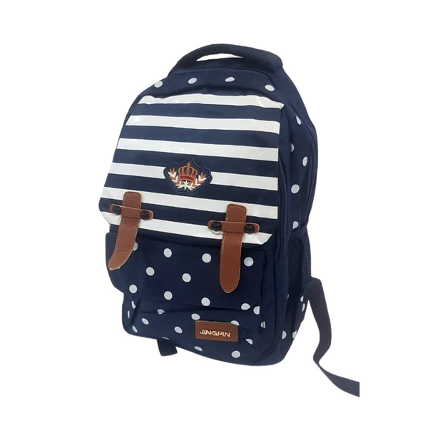 Navy and White Patterned Backpack