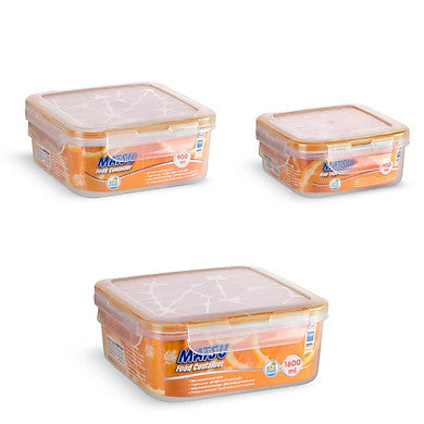 Matsu Small Square Plastic Food Containers (3 PCS)