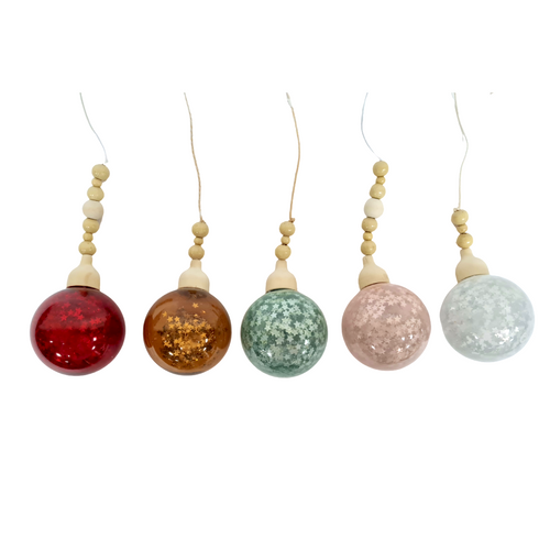 Glitter Bauble w/ Wood Accent - Akil Bros