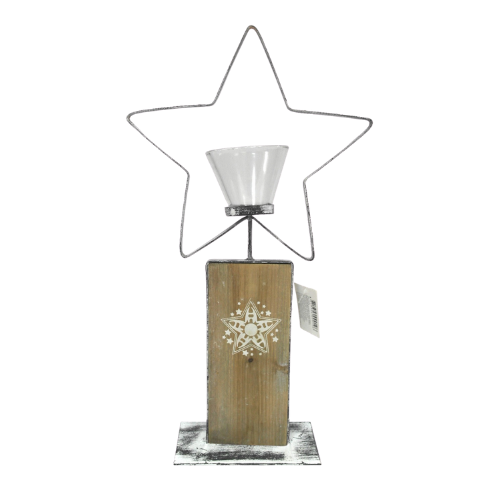 Metal Star w/ Wooden Base Candle Holder