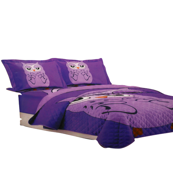 Purple Owl Bed Cover Set (180 x 240 cm)