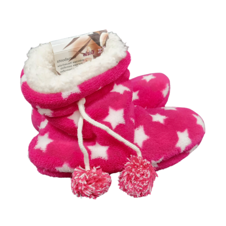 Kids Pink Stars House Boots - Akil Bros
