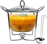 Glass Soup Warmer with Ladle