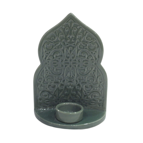 Green Oriental Ceramic Candle Holder - Akil Bros
