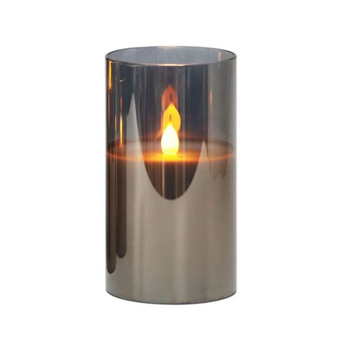 Grey LED Candle in Glass - Akil Bros