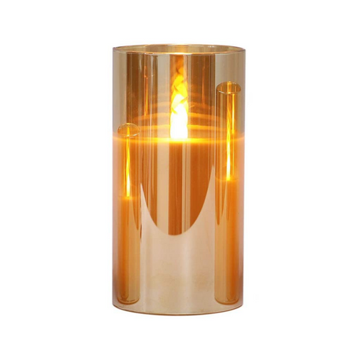 Gold LED Candle in Glass - Akil Bros