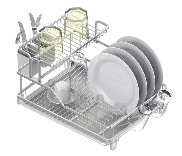 Aluminum Double Deck Dish Rack