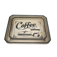 Coffee Wooden Trays w/ Black Edges (Set of 2)